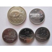 Монеты Исландии, 1 и 100 крон, цена за все