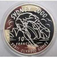 Конго, 10 франков, 1999, серебро, пруф