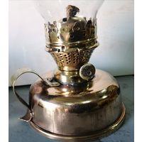 Керосиновая медная лампа со стеклом. Начало прошлого века.