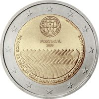 2 евро 2008 Португалия 60-летие принятия Всеобщей декларации прав человека UNC из ролла