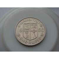 """Маврикий.""""Британская колония""""  1 рупия 1950 год  КМ#29  """"Правитель - Георг VI"""""""