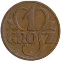 Польша 1 грош 1937г.