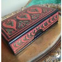 Шкатулка коробка старая восточная работа дерево Ручная разрисовка