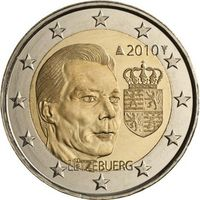 2 евро 2010 Люксембург Герб Великого герцога Люксембурга UNC из ролла