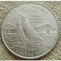 25 центов 2001 США - Род Айленд