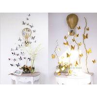 Декор - бабочки 3D из ПВХ зеркальные, посадка на двухсторонний скотч (в комплекте), комплект 12 штук. (21)