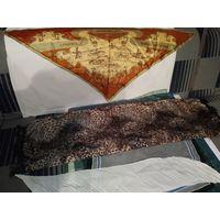 Платки натуральные шейные из полиэстера и крепдешина