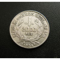 БРАЗИЛИЯ 2000 реалов 1924, серебро