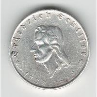 Германия 2 марки 1934 года. Шиллер. Серебро. Редкая!
