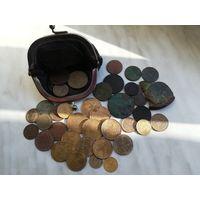 Кошелек с монетами 42 шт (есть нечастые)
