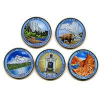 США 2010 набор ЦВЕТНЫХ КВОТЕРОВ ( 25 центов ) 5шт UNC