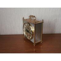 Часы настольные кварцевые комбинированные (латунь + белый металл) Blessing - electric Германия 70-е годы.