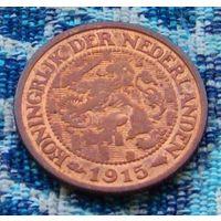 Нидерланды 1 цент 1915 года. Королева Вильгельмина.