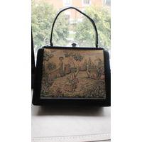 Антикварная сумка, нат. кожа, гобелен ( Италия). 60- е годы.