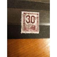 1944 Франция марка оплаты пересылки посылок (пакетов) по железной дороге поезд паровоз Ивер 12 (3-10)