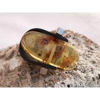 Кольцо янтарь с инклюзом - комар возрастом 100 млн лет-силикон-универсальный размер-новое