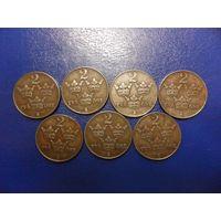 Швеция 2 оре (эре)  1942,1944,1946,1947,1948,1949,1950 г.г.-цена за монету