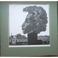 Пушкин, картина, тушь, 36Х34 см