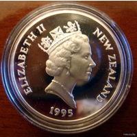 Новая Зеландия 5 $ 1995, Кларк Росс, серебро, пруф