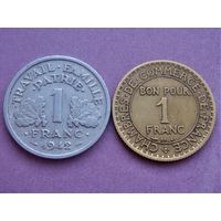 Франция 1 франк 1922 и 1942