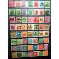 1921-1923 года  Германский Рейх - 56 марок, чистые. 36 с надпечатками. БЕЗ ПОВТОРОВ ~ Цена снижена