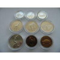 """Конго.  Набор 9 монет 2002 год. """"ФАУНА"""" UNC-AU"""
