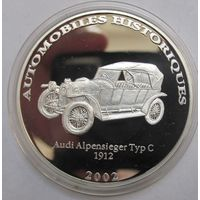 Конго, 10 франков, 2002, серебро, пруф