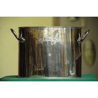 Ведро для вина , латунь с серебрением ( высота 18 см , ширина 29 см )
