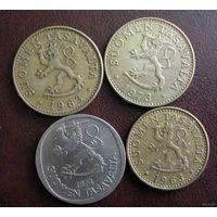 Финляндия. 4 монеты 1963-1974 г.
