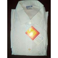 Сорочка ГДР с вышивкой мужская белая ретро винтаж
