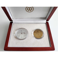 10, 2 злотых 2006, Польша, XX зимние Олимпийские игры в Турине. Серебро. Оригинальный деревянный футляр на 2 монеты