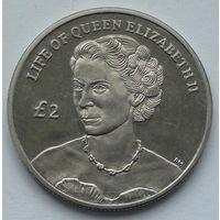 Остров Вознесения. 2 фунта. Жизнь Королевы Елизаветы II. Портрет 1952 года. 2012
