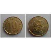 10 центов Эстония 1998 год, KM# 22, 10 SENTI, из мешка