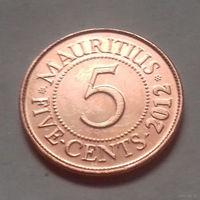 5 центов, Маврикий 2012 г., AU