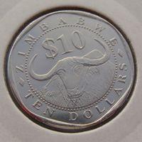 """Зимбабве. 10 долларов 2003 год KM#14 """"Водяной (азиатский) буйвол"""""""