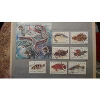 Рыбы, фауна, марки, Танзания, 1991, блок и 7 марок