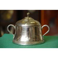 Сахарница , латунь с серебрением    , клеймо , высота 12 см , диаметр 12 см