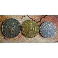 Западно-африканские штаты. 3 монеты 2002-2009 г.