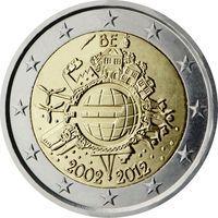 2 Евро Бельгия 2012 10 лет наличному евро UNC из ролла