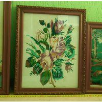 Вышивка картина старинная с рамкой Розы