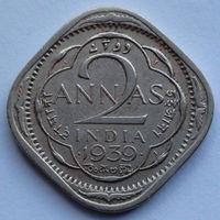 Индия - Британская 2 анны. 1939 (Лилии на короне пересекают полудугу, Отметка - Бомбей)