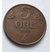 Норвегия 5 эре, 1937 5-8-22