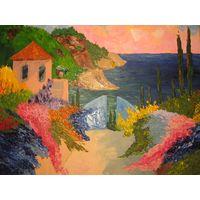 "Картина маслом ""Парк у моря"" мастихин (300х400) холст на картоне"