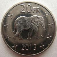 Катанга 20 франков 2013 г.