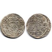 Шеляг 1614, Сигизмунд III Ваза, Вильно. Более редкий год. Штемпельный блеск, коллекционное состояние