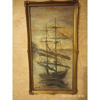Старинная картина маслом корабль . Деревянная рамка 43 на 23 см.