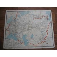 Схема железных дорог СССР 1970 год