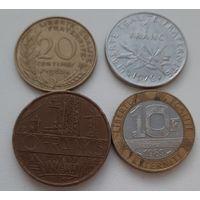 РАСПРОДАЖА - ФРАНЦИЯ: 4 монеты 1963-1989 года_Отличные_Много лотов в продаже