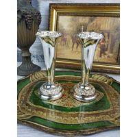 Красивые винтажные вазочки для цветов серебрение клеймо