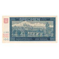 Чехословакия Протекторат Богемия и Моравия 100 крон 1940 года. 1-й выпуск. Редкая! SPECIMEN. Состояние UNC!